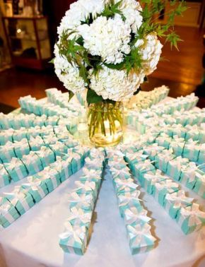 Tiffany blue box with white ribbon party favors