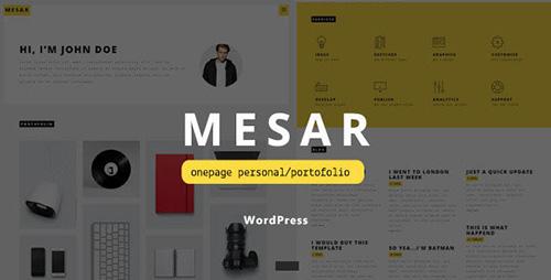 ThemeForest - Mesar v1.0 - Onepage Personal/Portofolio WordPress Theme