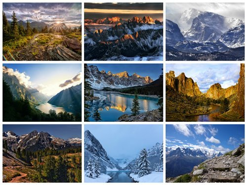 70 Wallpapers with Mountains Set