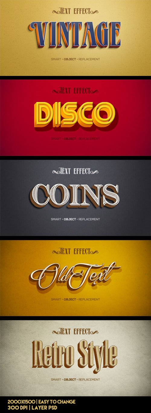 5 Retro Vintage Text Effects PSD Templates