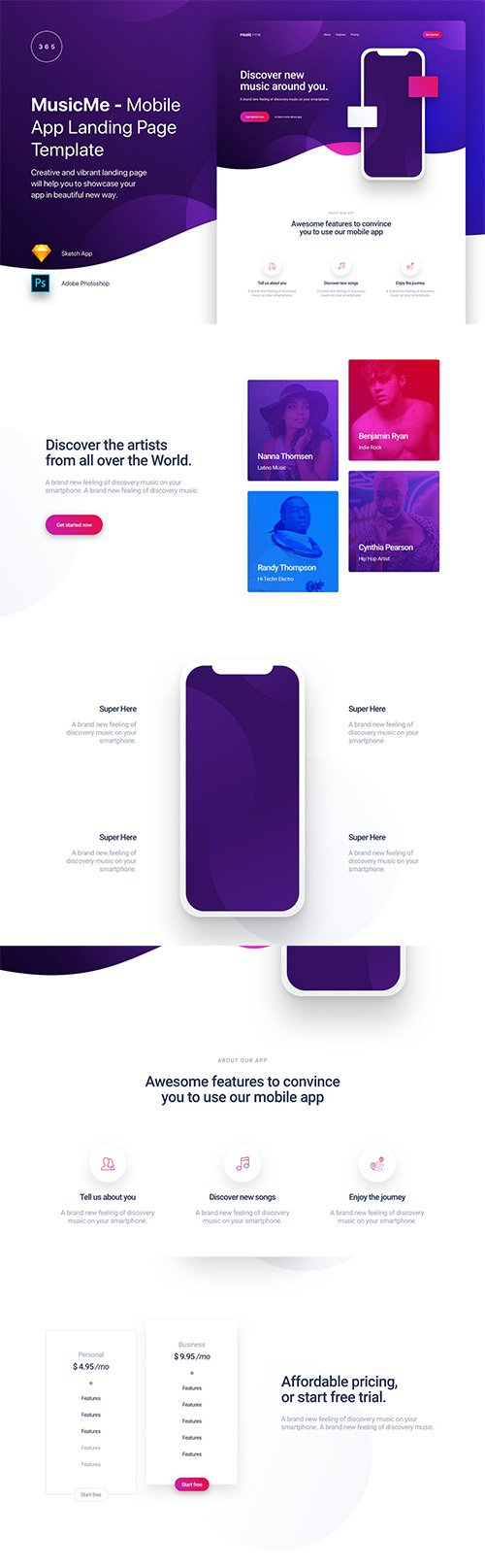 MusicMe - Mobile App Landing Page Template