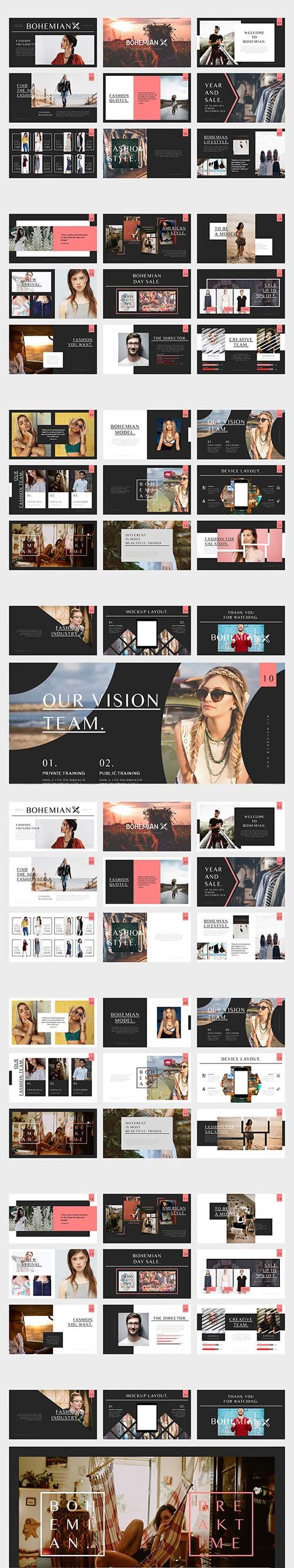 Bohemian Fashion Catalogue Powerpoint Template