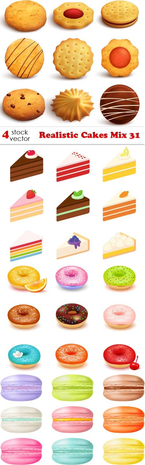 Vectors - Realistic Cakes Mix 31