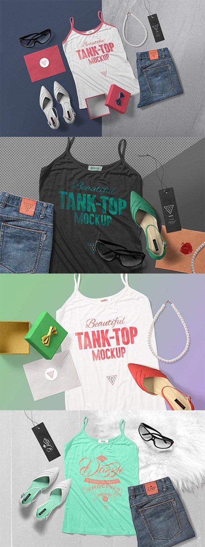 4 Women's Tank Top Mockup Scenes