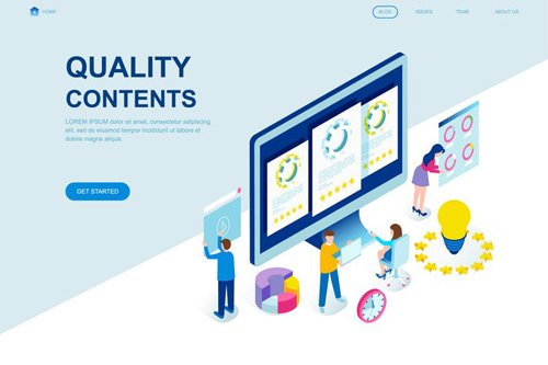 Quality Content Isometric Landing Page Template
