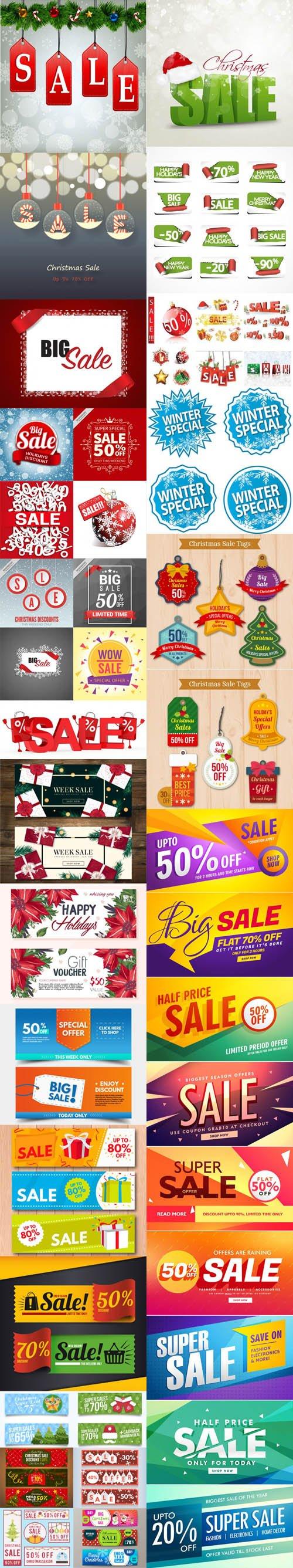 Holiday & Christmas Sales Vector Bundle 2 [Ai/EPS]