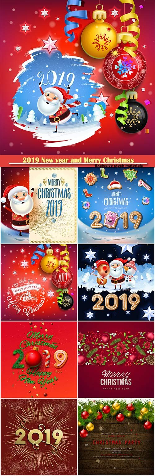 2019 New year and Merry Christmas backgrounds, Santa Claus on a winter background