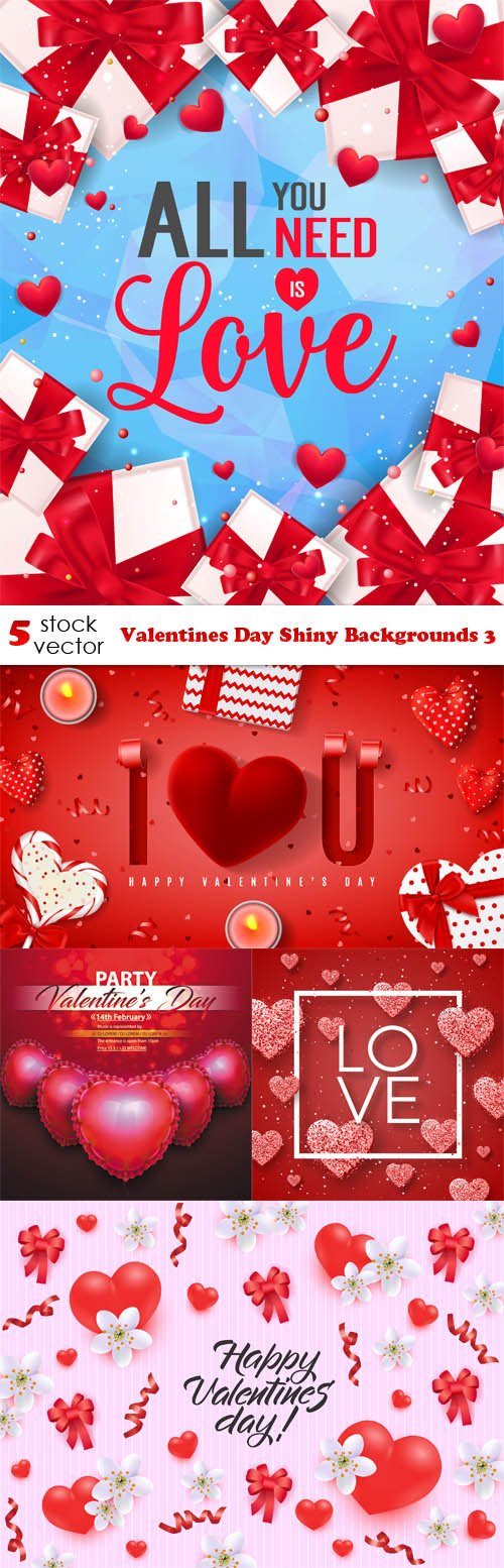 Vectors - Valentines Day Shiny Backgrounds 3