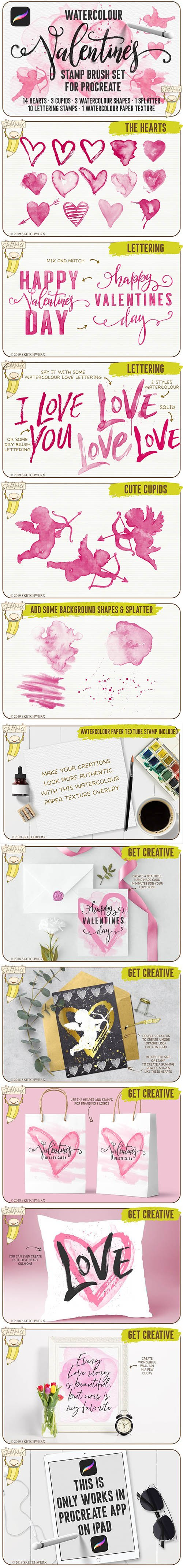 CreativeMarket - Watercolour Valentines Stamp Set 3378623