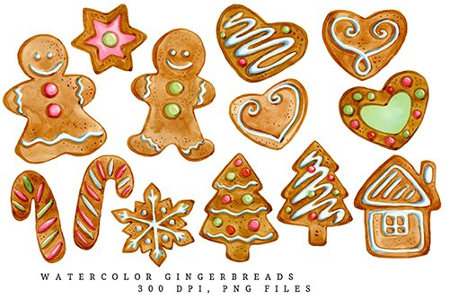Gingerbread illustration, watercolor clipart