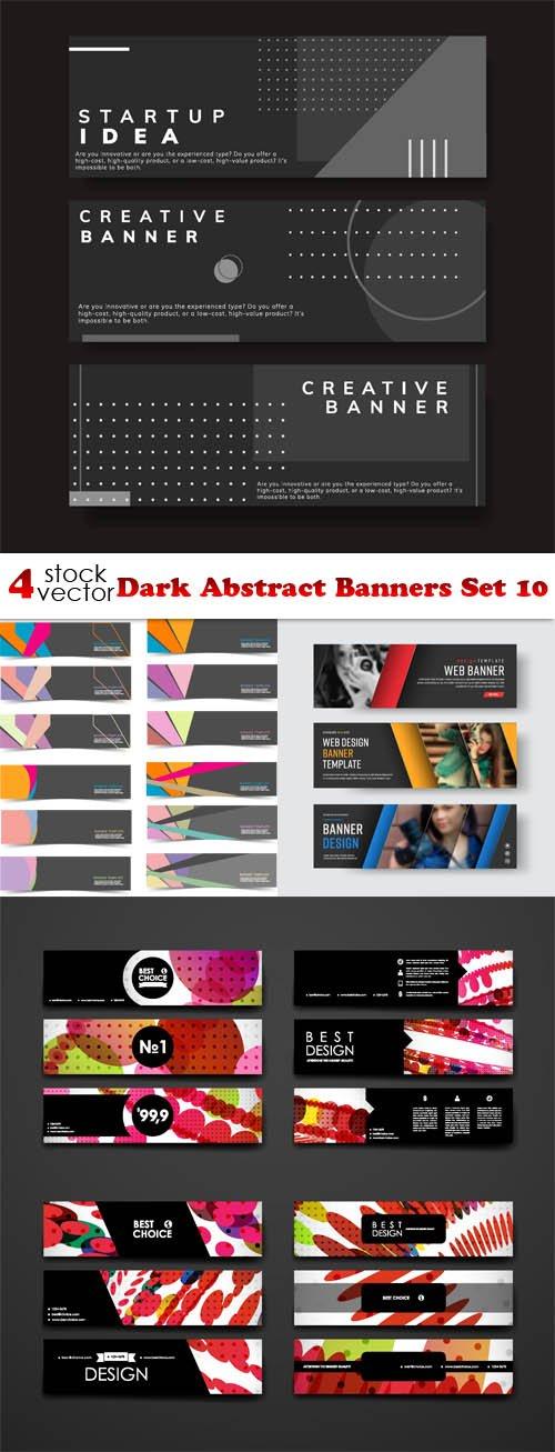 Vectors - Dark Abstract Banners Set 10
