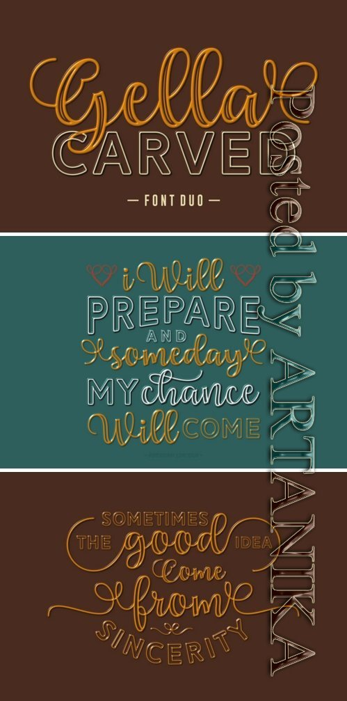 Gella Carved Duo Font