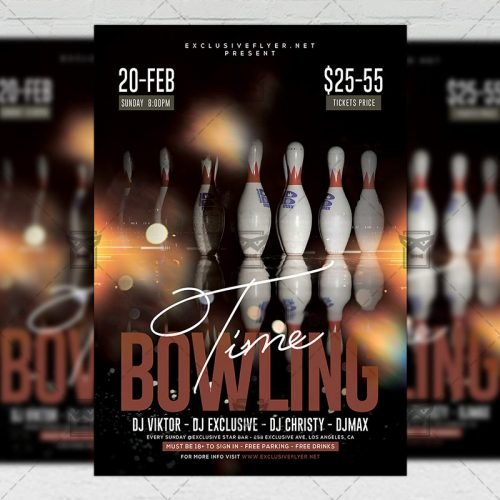 Sport A5 Template - Bowling Time Flyer