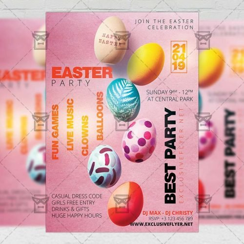 Seasonal A5 Flyer Template - Easter Party Celebration