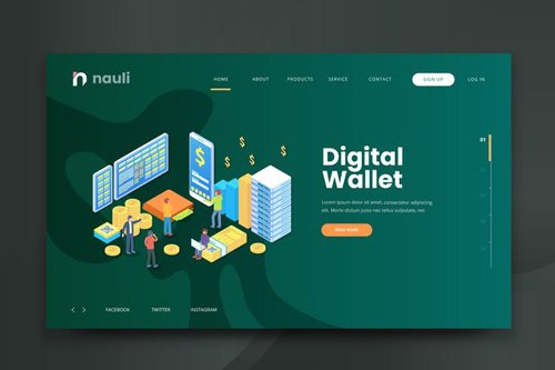 Isometric Digital Wallet Web PSD and AI Vector