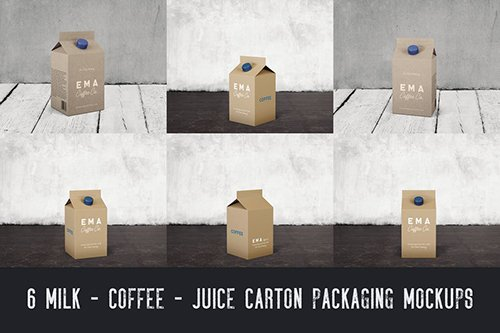 6 Milk Coffee Juice Carton Packaging Mockups1