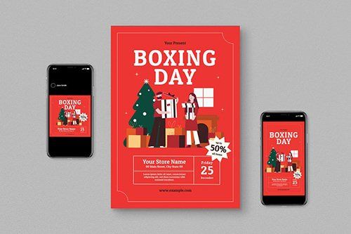 Boxing Day Event Flyer Set