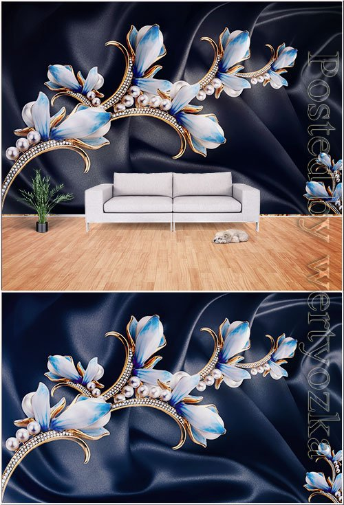 3d blue pearl tulip satin background wall