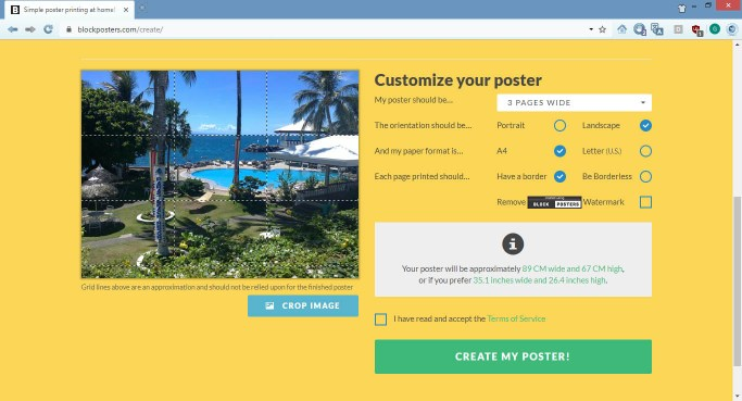 Print a poster at home using blockposters.com