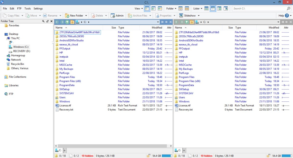 Main page of Directory Opus, which you can use to delete files forever.