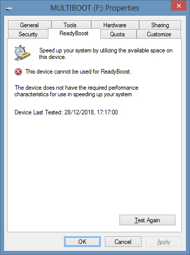 Trying to enable Readyboost in an unsupported USB flash drive.
