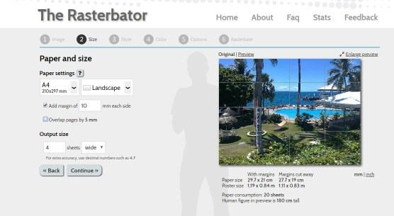 Print a poster at home using Rasterbator. Settings page.