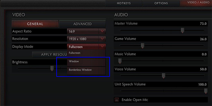 Force window mode in games - DOTA2 settings page.