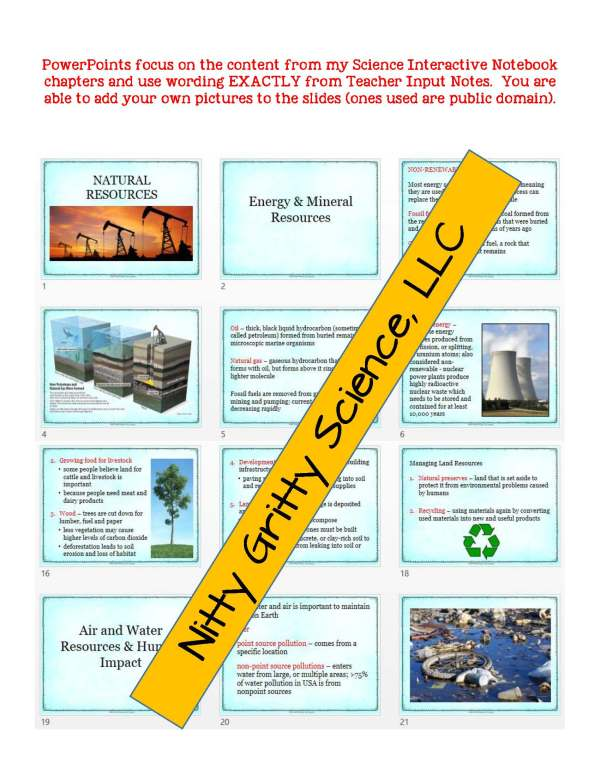 2273845 Page 5 - Natural Resources: Earth Science PowerPoint, Notes & Test ~ EDITABLE!