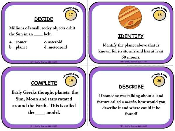 Astronomy and Space Science Page 07 - Astronomy and Space Science: Earth Science Task Cards