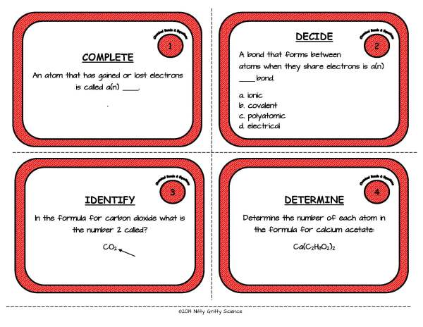 Chemical Bonds and Equations Page 03 - Chemical Bonds and Equations: Physical Science Task Cards