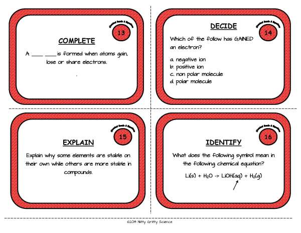 Chemical Bonds and Equations Page 06 Copy Copy - Physical Science Task Card Bundle - 400+ task cards!