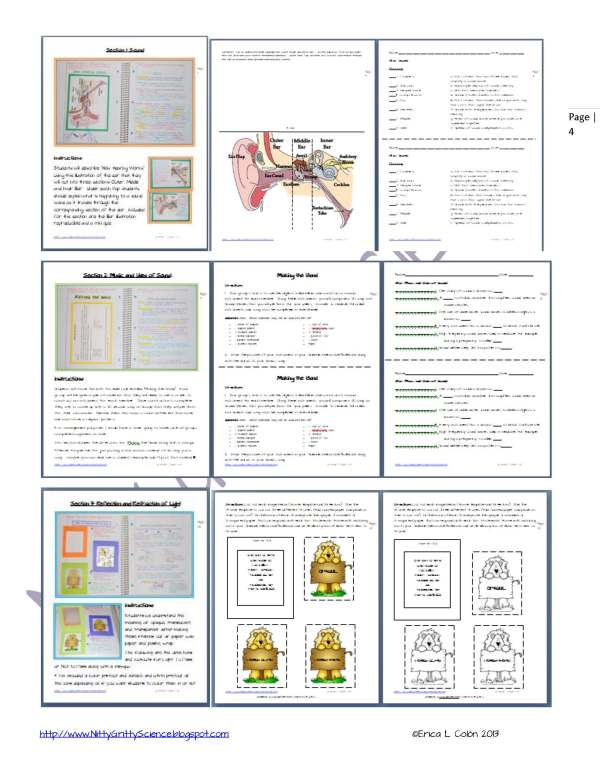Demo Sound Light Mirrors and Lenses Page 4 1 - Physical Science Interactive Notebook - The Complete Bundle for an Entire Year