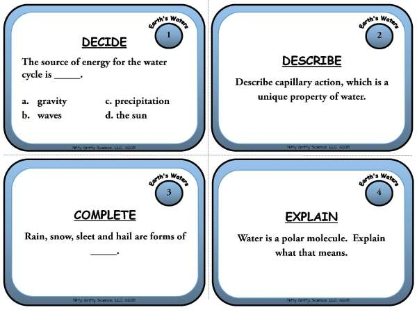 Earths Waters Page 03 Copy - Earth's Waters: Earth Science Task Cards