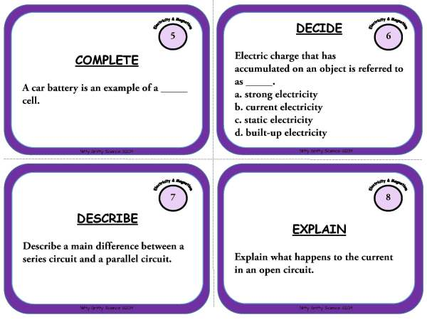 Electricity and Magnetism Page 04 - Physical Science Task Card Bundle - 400+ task cards!