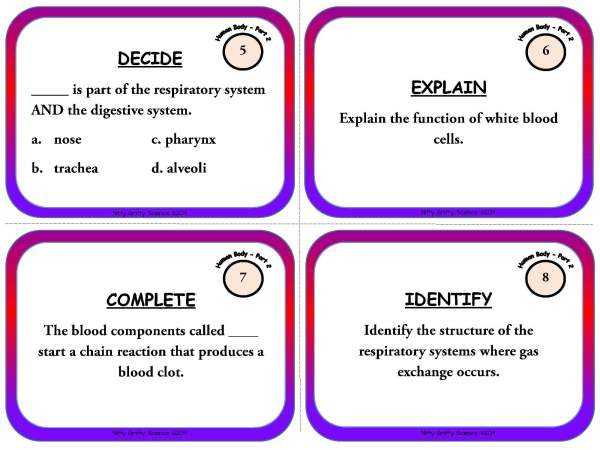 Human Body Part 2 Page 04 - Human Body: Part 2 - Life Science Task Cards
