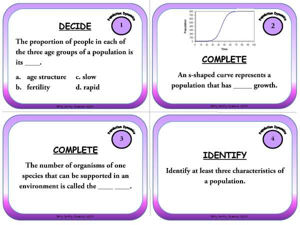 Population Dynamics Page 03 - Population Dynamics: Life Science Task Cards