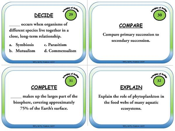 Principles of Ecology Page 10 - Task Cards - Principles of Ecology