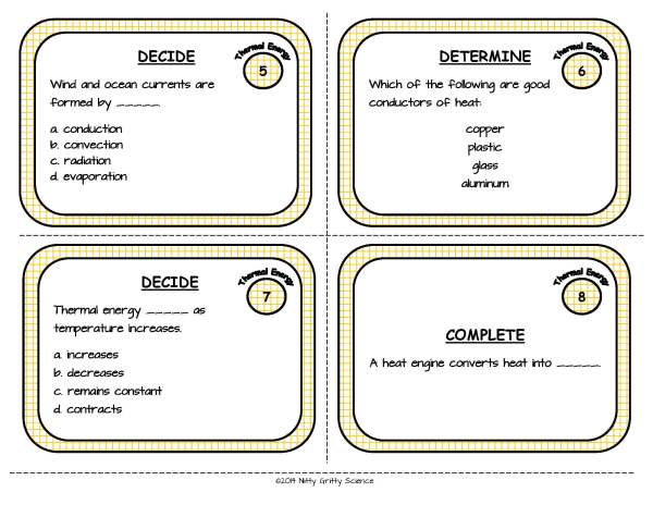 Thermal Energy Page 04 - Thermal Energy: Physical Science Task Cards
