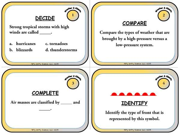 Weather and Climate Page 03 - Weather & Climate: Earth Science Task Cards