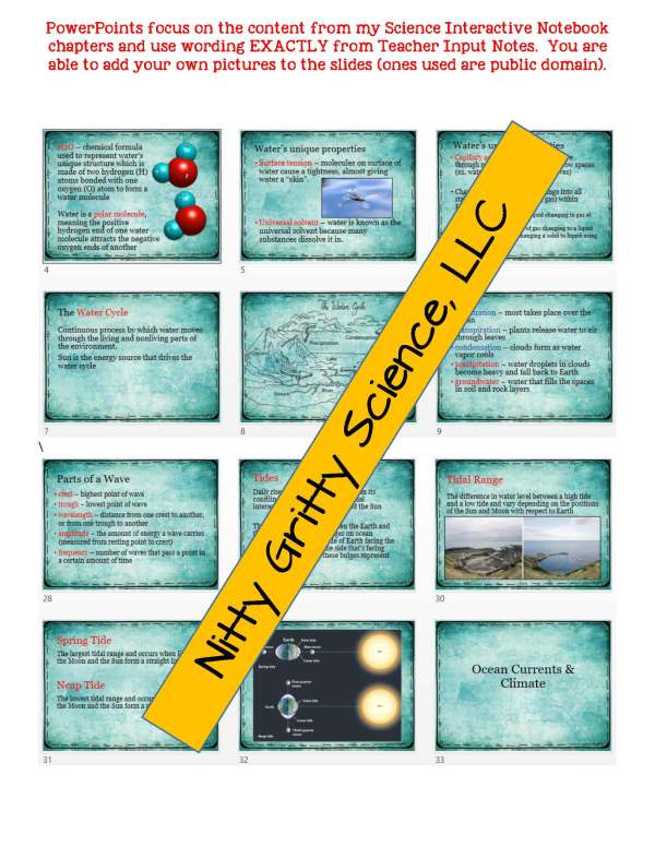 demoEarthScienceNotesPowerPointTestEarthsWatersEDITABLE2222397 Page 5 - Earth's Waters: Earth Science Notes, PowerPoint & Test ~ EDITABLE!