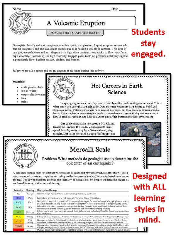 demoPreviewForcesthatShapetheEarth 1 Page 5 - FORCES THAT SHAPE THE EARTH - Demo, Labs and Science Stations {Earth Science}