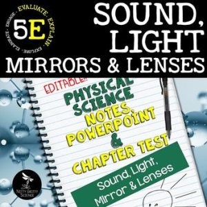 original 2414382 1 - Sound, Light, Mirrors & Lenses: PS Notes, PowerPoint & Test ~ EDITABLE