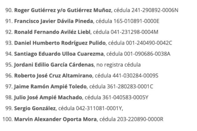 Un fragmento de la lista de presos políticos que fueron excarcelados el 20 de mayo pasado. Entre ellos iba el reo de conciencia, Roberto Cruz Altamirano.