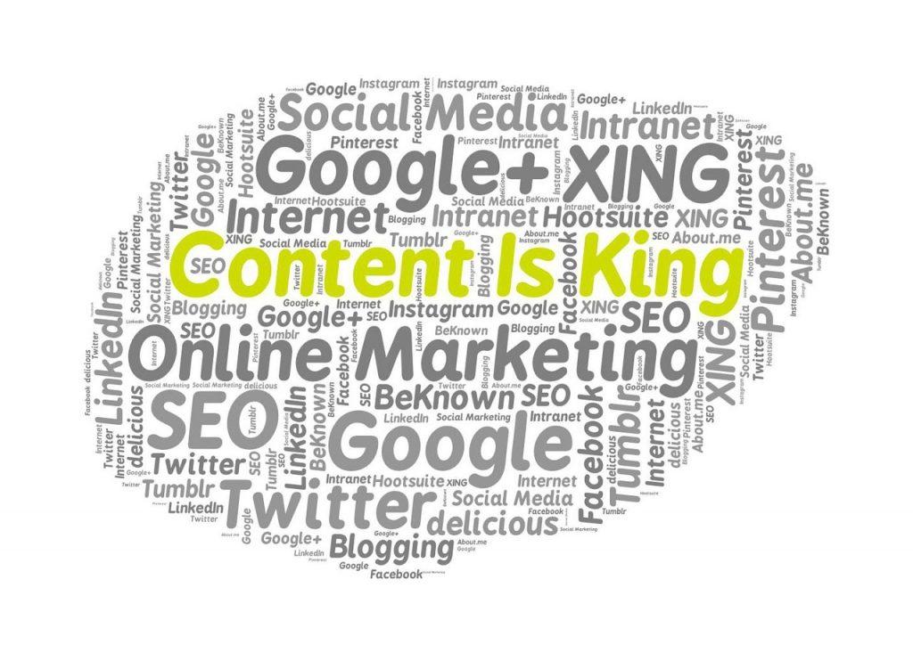 """""""nube"""" de palabras donde destaca la frase """"content is king"""", que traducida al español es """"el contenido es el rey"""", para artículo sobre content marketing"""