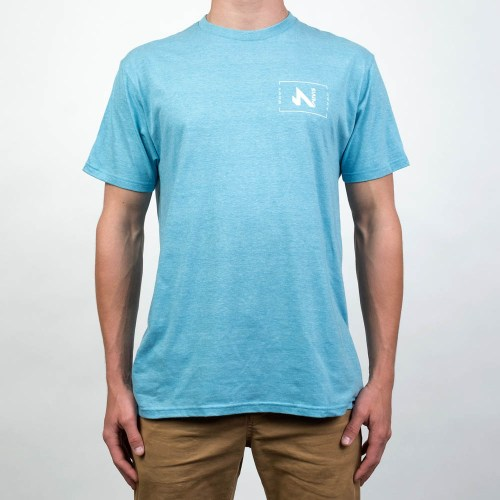snow tracks t shirt light blue