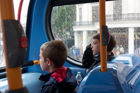 Riding on a double decker bus