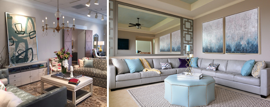 Left: Wesley Hall Showroom, photo by Kerrie Kelly Design Lab. Right: Nina Magon