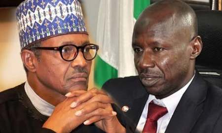The President, Major General Muhammadu Buhari (retd.) and the acting Chairman, Economic and Financial Crimes Commission, Ibrahim Magu.