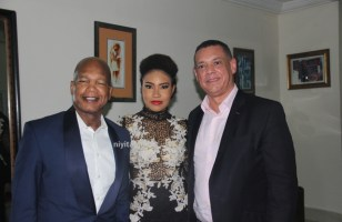 Anna Banner and Dad with Guy Murray Bruce of Silverbird Group