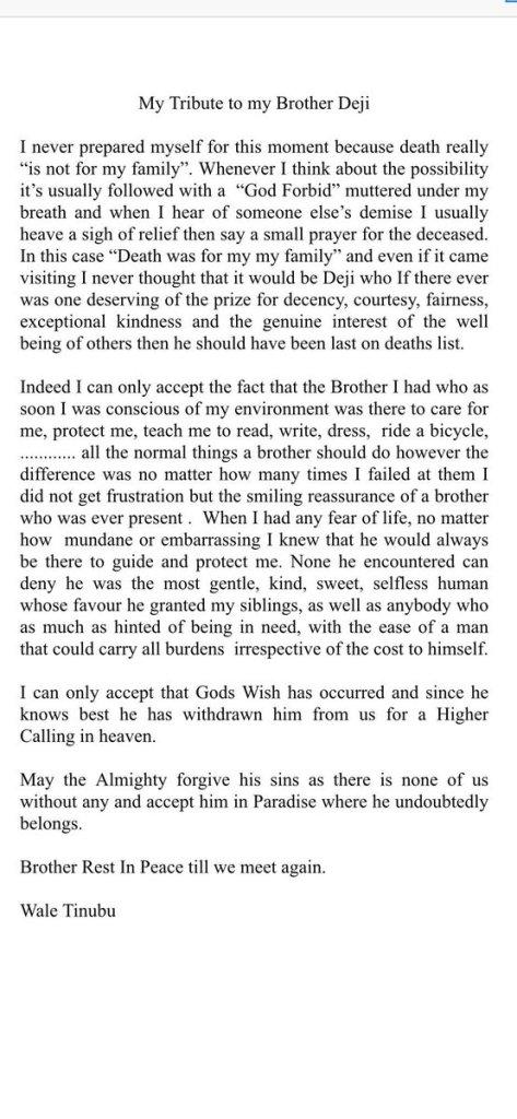 Wale Tinubu tribute to late brother